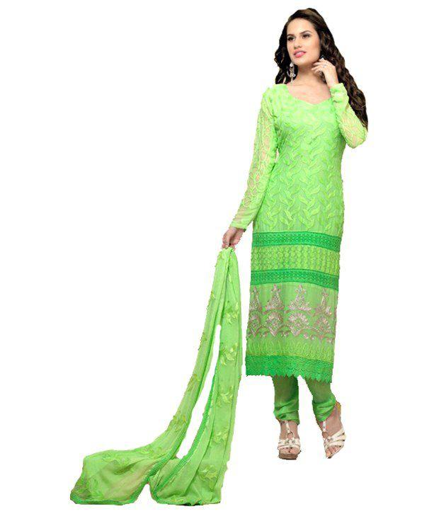 Janvi Green Faux Georgette Stitched Suit