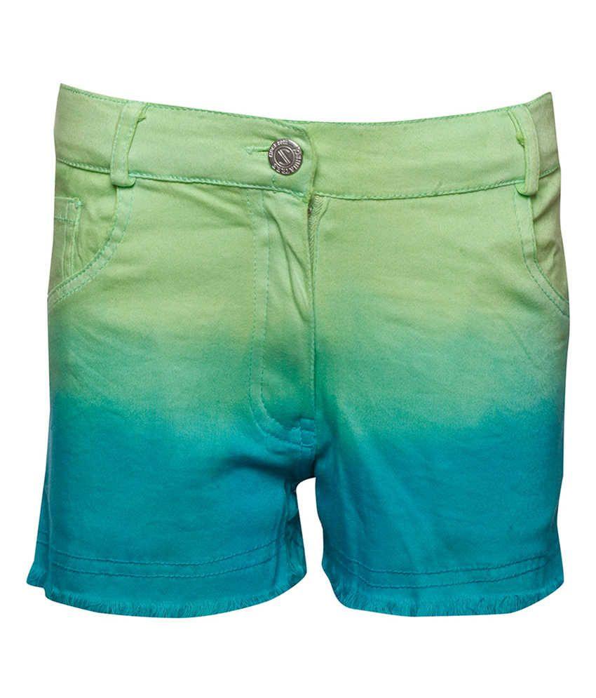 Joshua Tree Green Cotton Solid Shorts