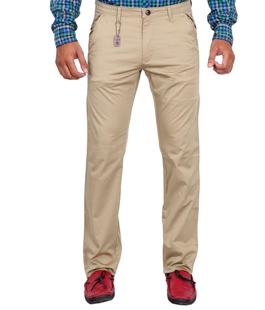 K-NOP Beige Cotton Lycra Regular Trousers
