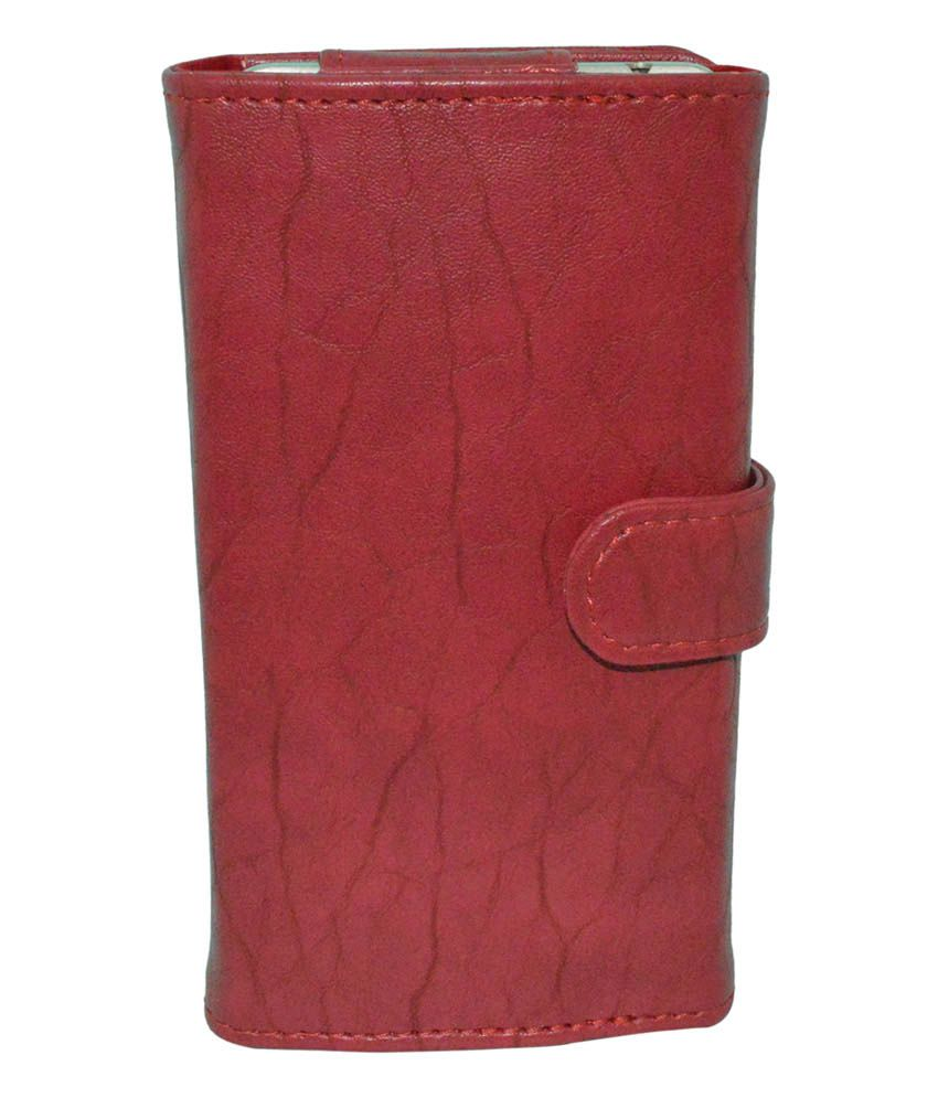 Totta Red PU Leather Wallet Pouch with Card Holder for Sony Xperia E 4g Dual (4.7)