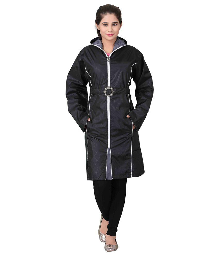 Brinley Black Nylon Long Raincoat