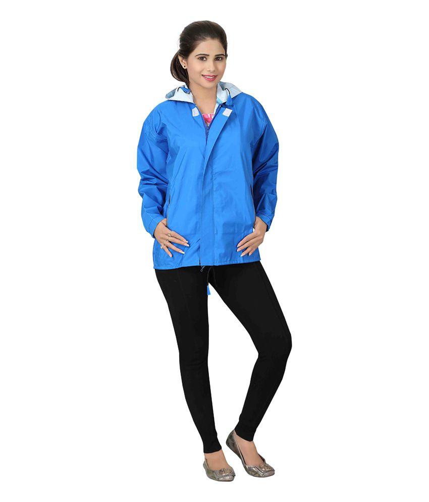 Brinley Blue Nylon Hooded Windcheater