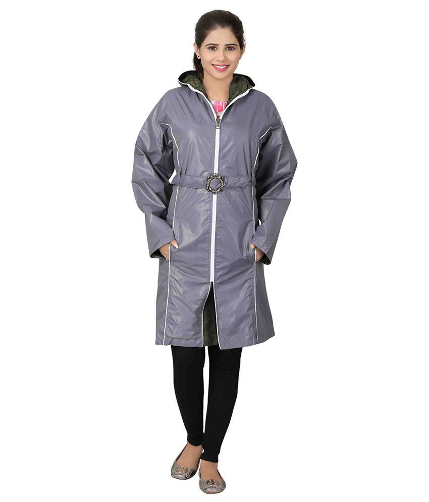 Brinley Gray Nylon Long Raincoat