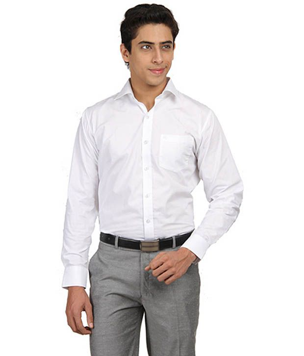 Kandukuri Industries White Cotton Blend Formal Shirt For Men Buy