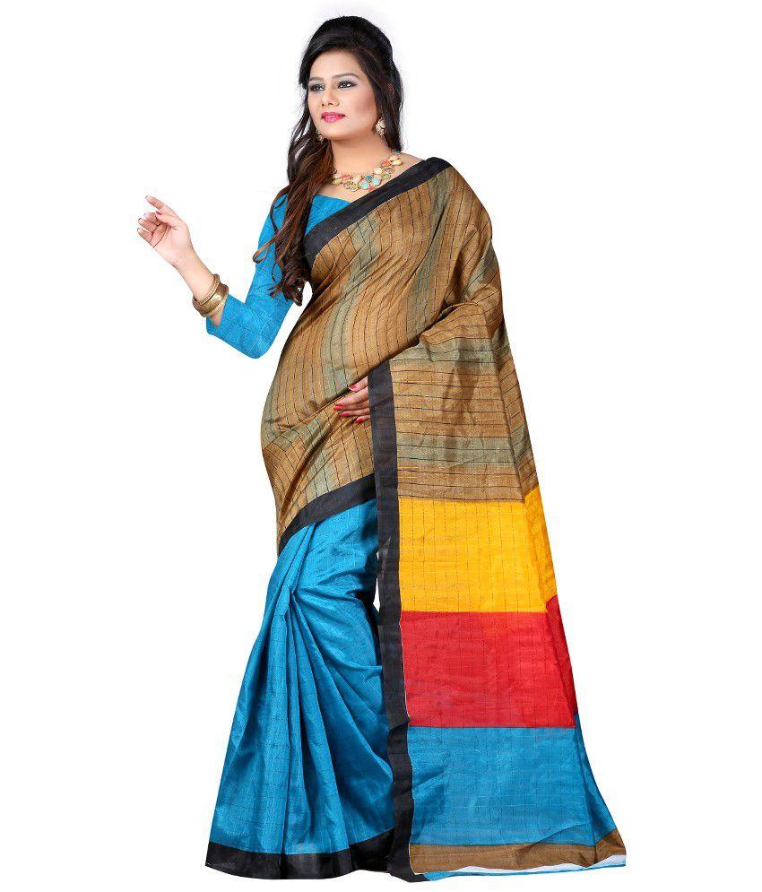 New Trendz Blue Bhagalpuri Silk Saree