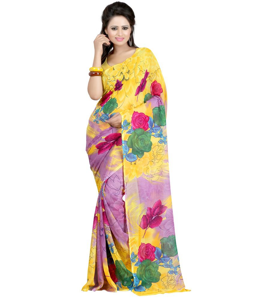 New Trendz Yellow Faux Georgette Saree