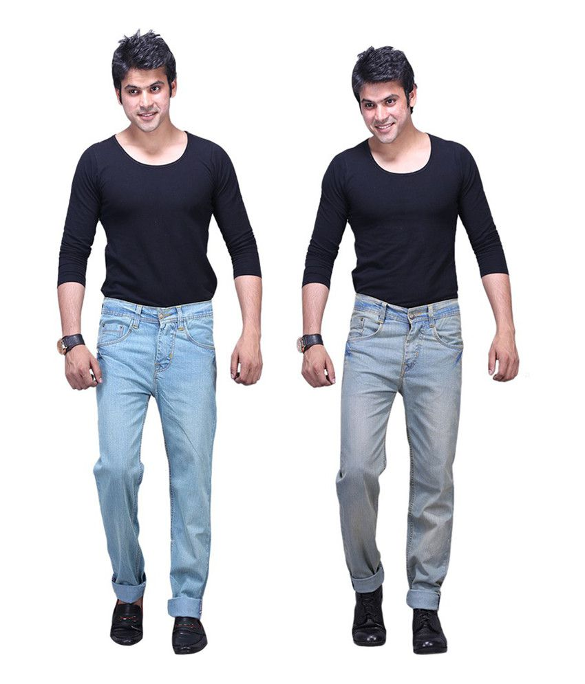 X-CROSS Ice Blue and Grey Cotton Blend Regular Fit Jeans - Pack of 2