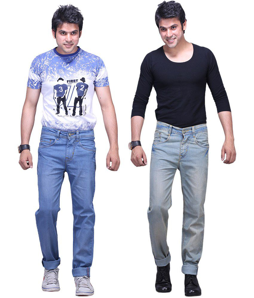 X-CROSS Light Blue and Grey Cotton Blend Regular Fit Jeans - Pack of 2