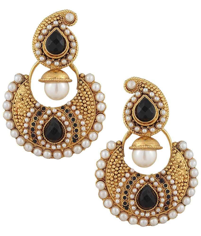 Adiva Black Alloy Chandelier Earrings