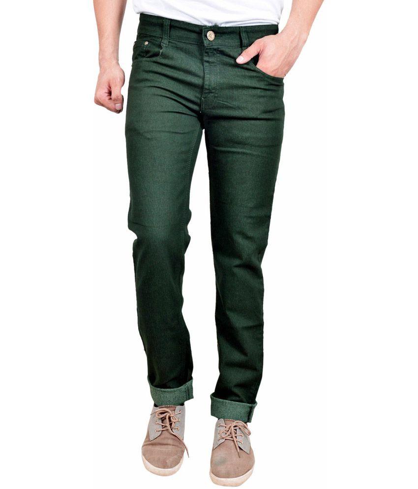 Studio Nexx Green Cotton Regular Fit Jeans