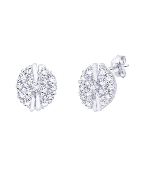 Taraash 92.5 Sterling Silver Floral Stud Earrings
