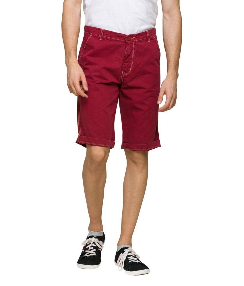 Teemper Maroon Cotton Blend Shorts