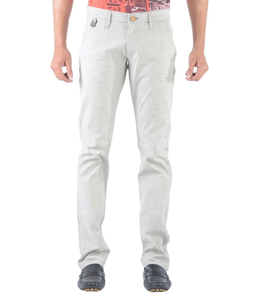 Vintage Gray Cotton Lycra Slim Fit Casual Chinos