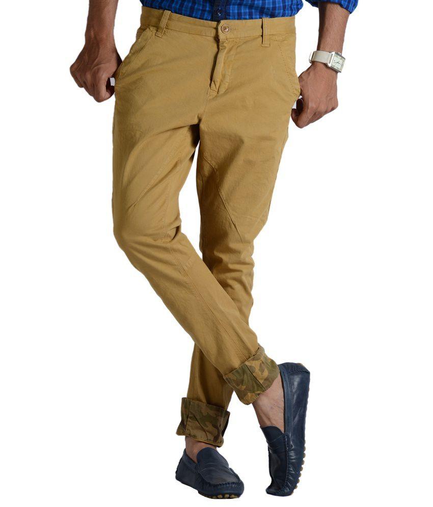 Vintage Khaki Cotton Slim Fit Casual Chinos