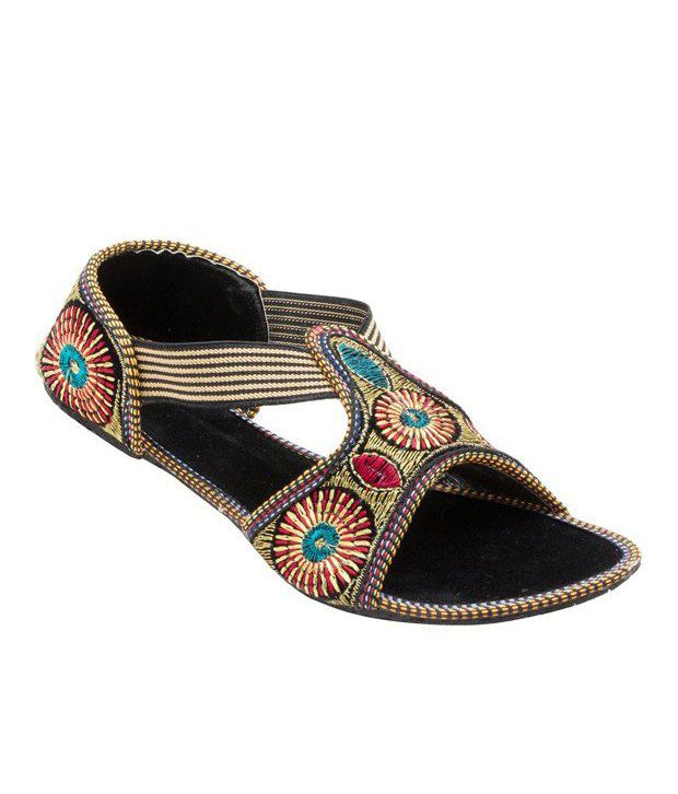 Forever Multicolour Velvet Party Wear Sandals