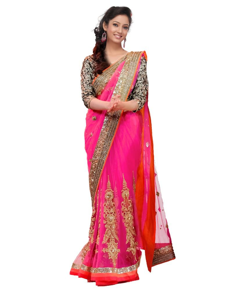 Fashion Style Pink Pure Georgette Designer Sarees