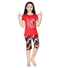 Red Ring Red Cotton Nightwear