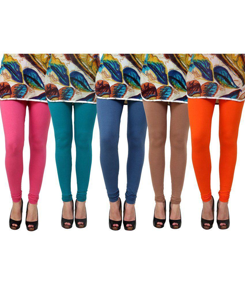 Anekaant Multi Color Cotton Leggings - Pack of 5