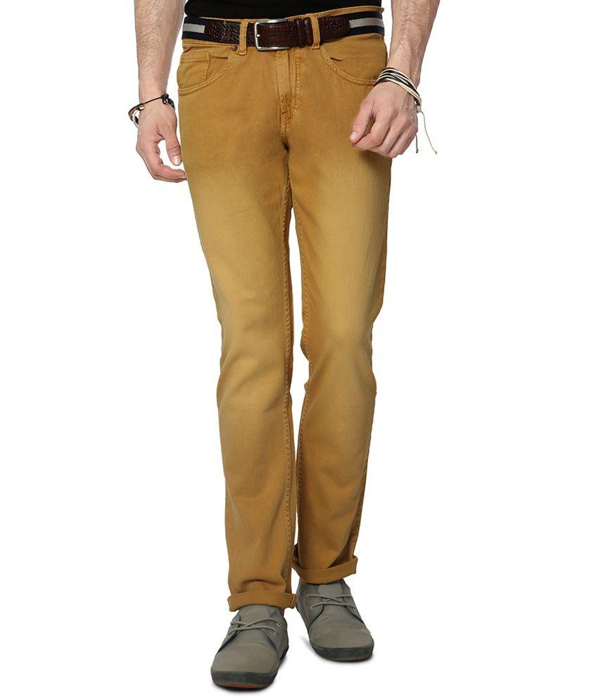 People Brown Slim Fit Jeans