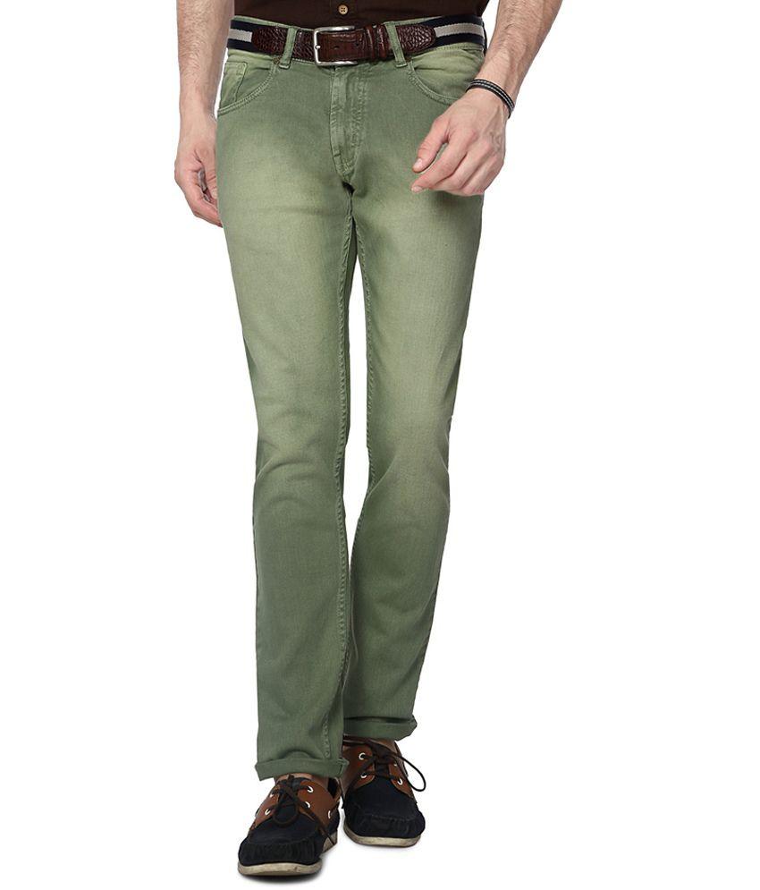 People Green Slim Fit Jeans
