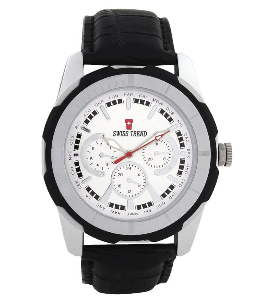 Swiss Trend Silver Leather Analog Watch For Men