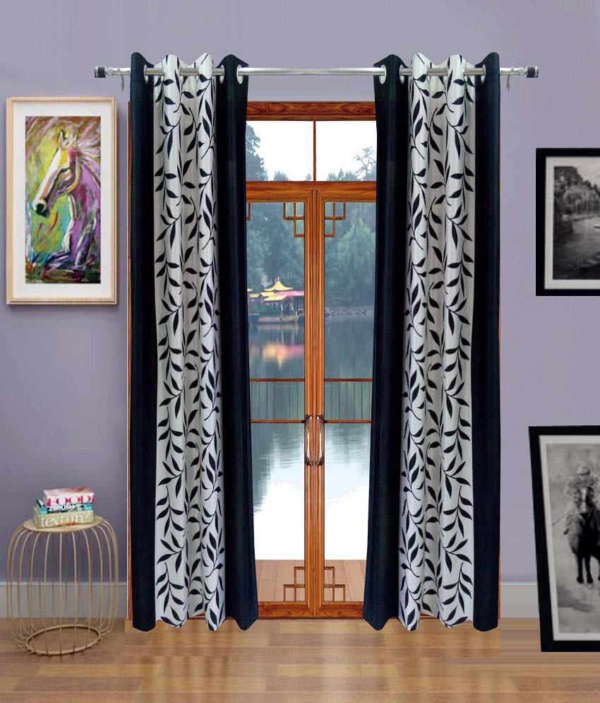 Homefab India Set of 2 Door Eyelet Curtains Floral Black