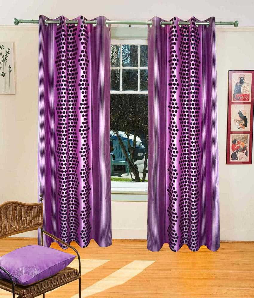 Homefab India Set of 2 Window Eyelet Curtains Geometrical Pink