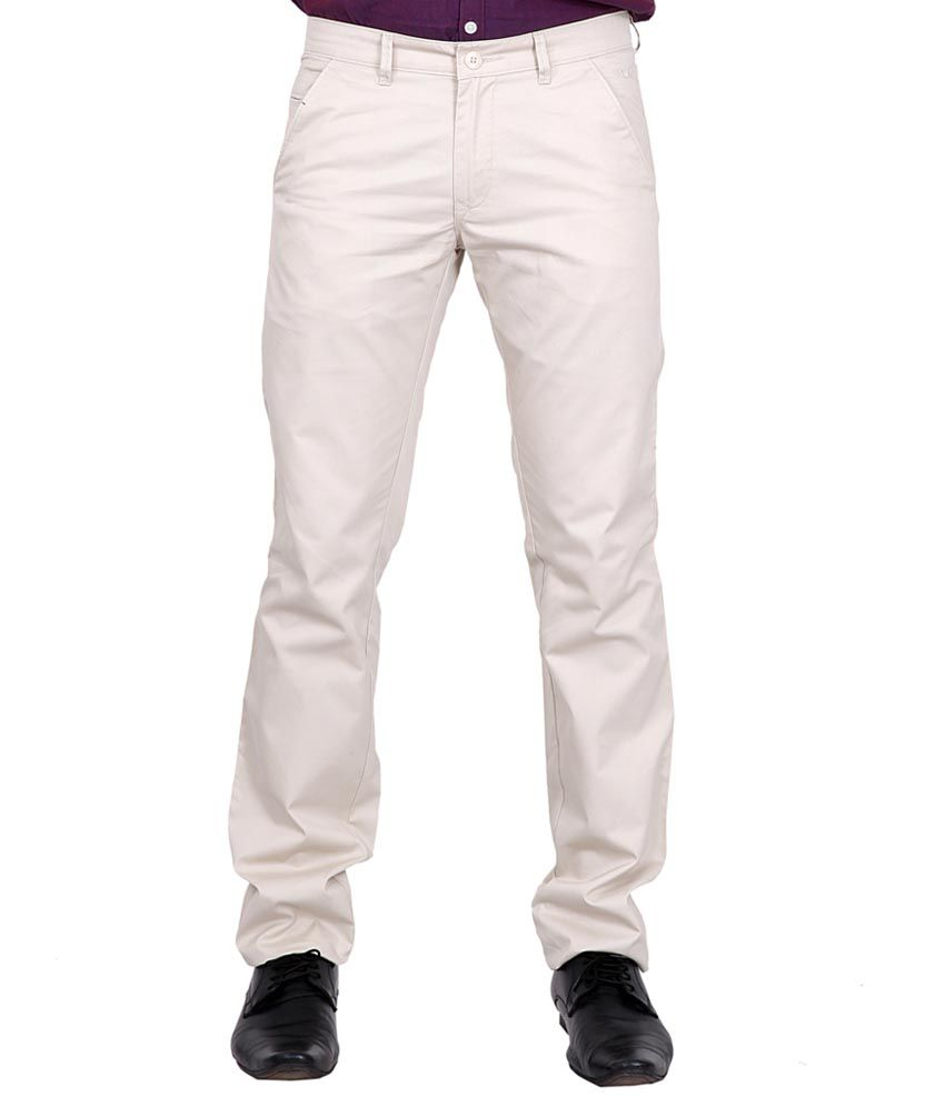 K-Nop Beige Cotton Casual Trouser