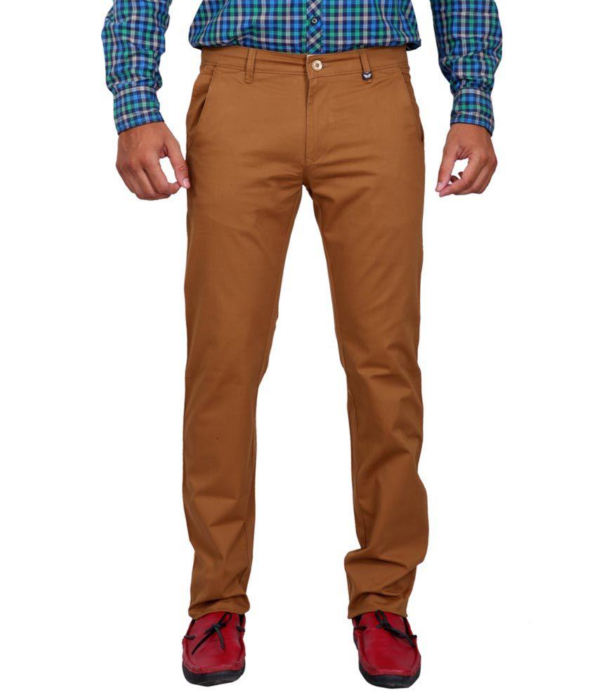 K-Nop Khaki Cotton Lycra Casual Trouser
