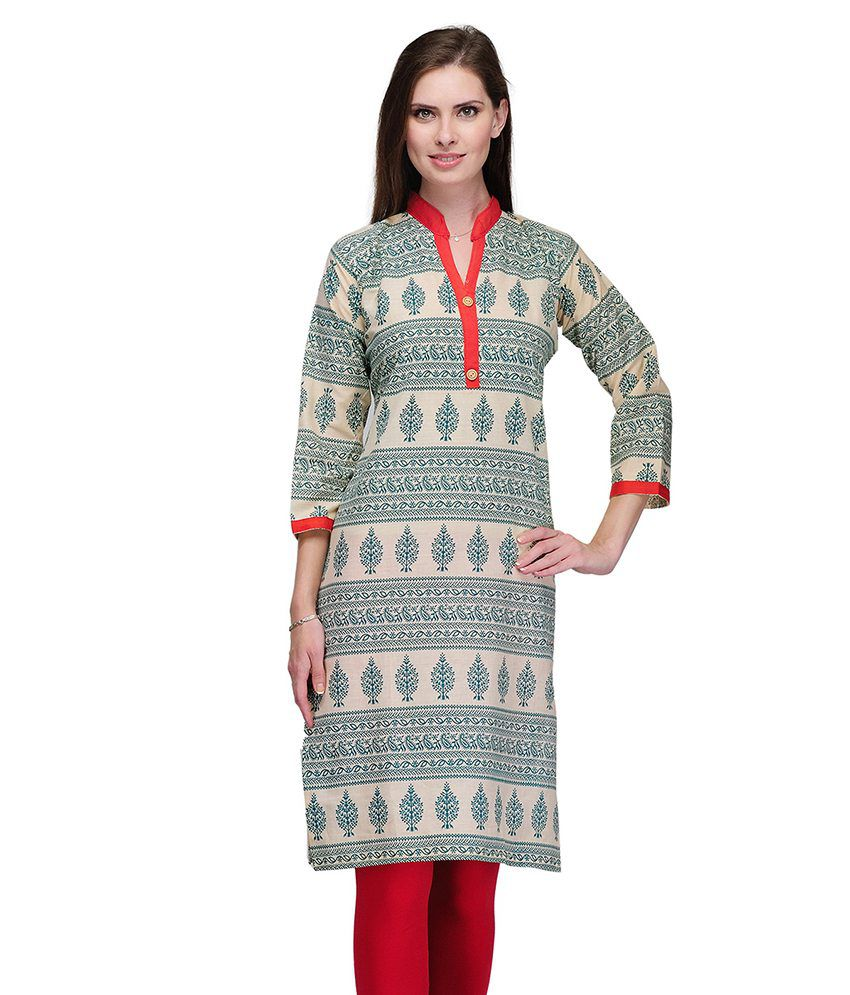 Lookslady Cotton Beige and Blue Printed Chinese Collar Kurti