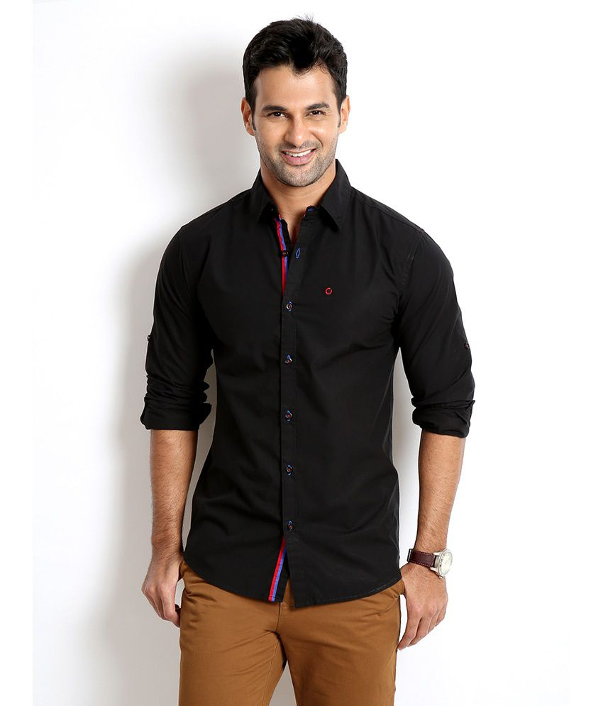 Black t shirt full sleeve with collar -  Rodid Black Cotton Blend Slim Fit Full Sleeve Shirt