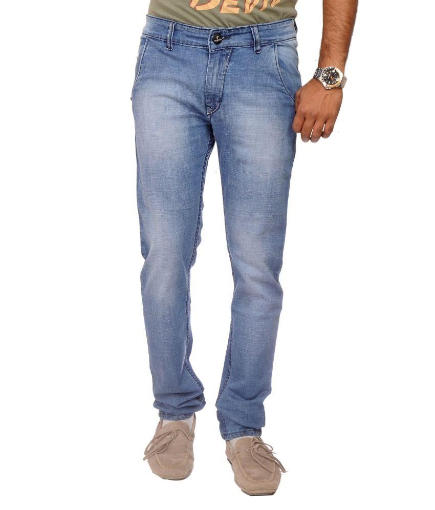 punto Denims Cotton Blend Faded Jeans For Men