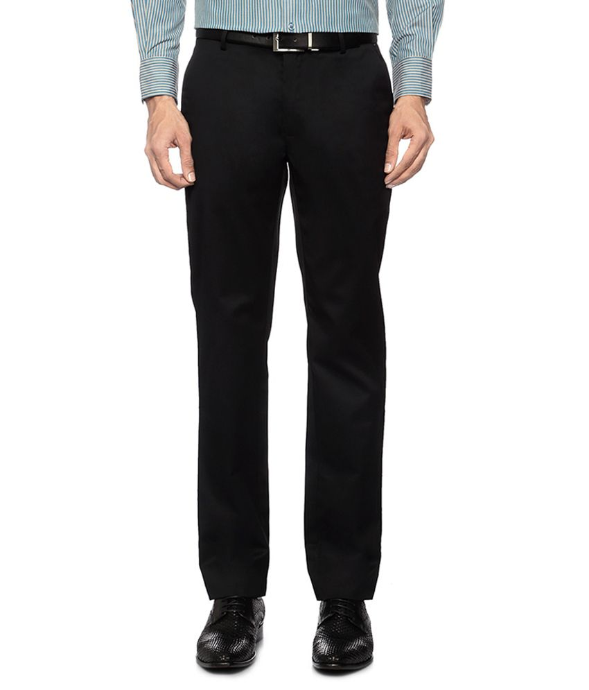 Peter England Black Flat Front Formal Trousers