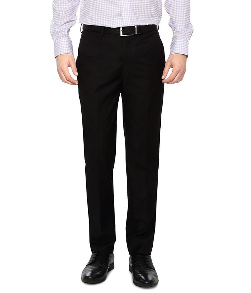 Peter England Black Slim Fit Trousers