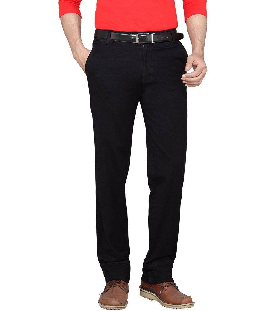 Dragaon Jeans Black Cotton Blend Regular Fit Jeans