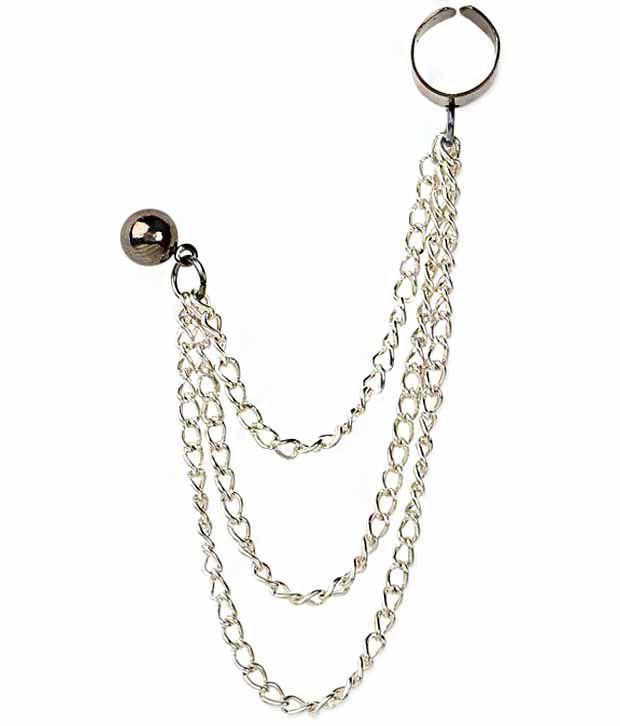 Femnmas Silver Multi Chain Earcuff (Pair)