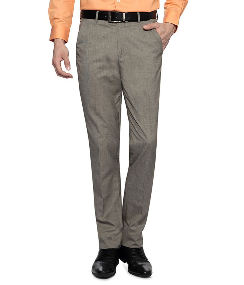 Peter England Grey Textured Trousers