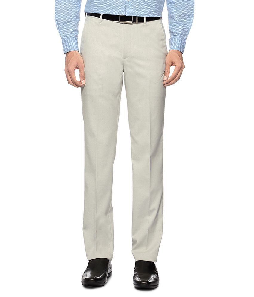 Peter England Off White Solid Formal Trousers