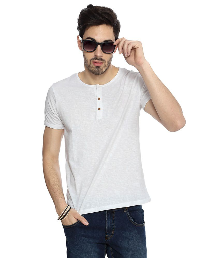 People White Cotton Textured Slim Fit Half Sleeves T-Shirts