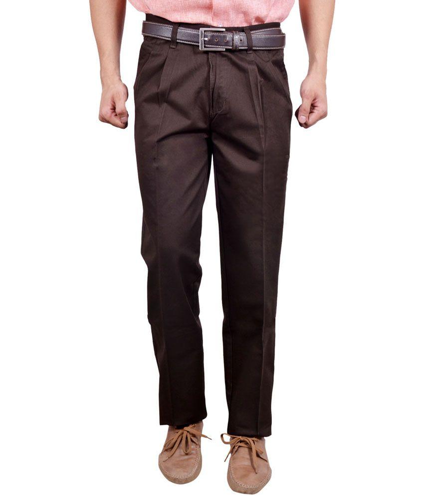 Studio Nexx Brown Cotton Regular Fit Men Trouser