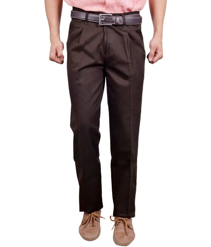 Studio Nexx Brown Cotton Regular Fit Men Trouser