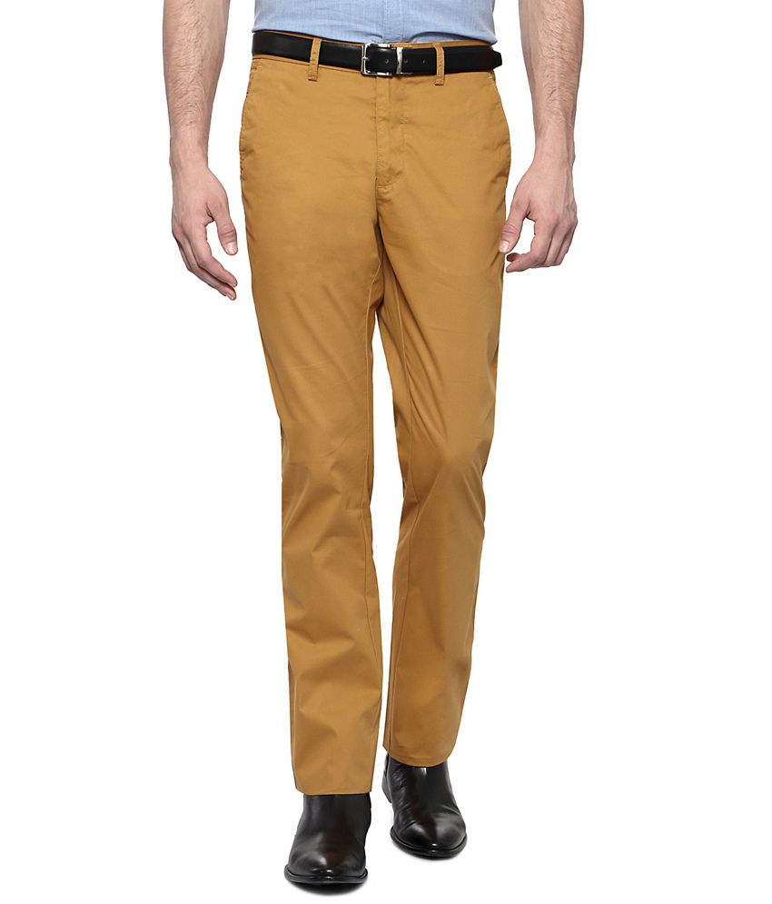 Allen Solly Khaki Casual Custom Fit Flat Front Trousers