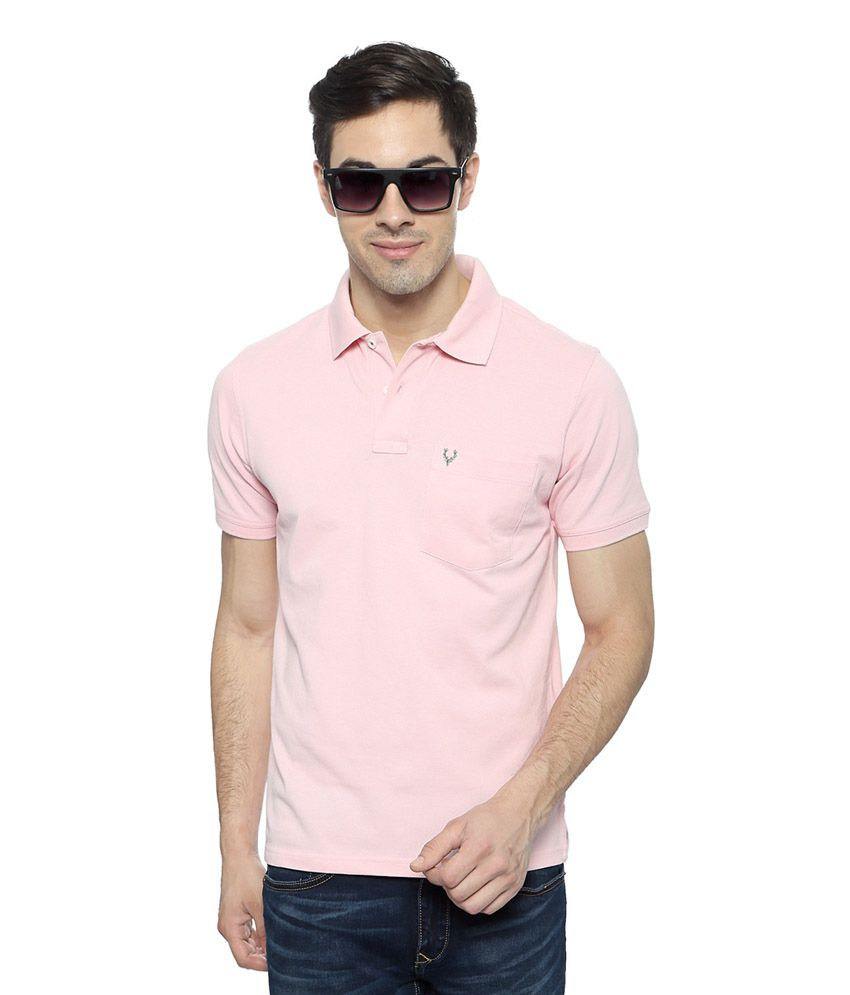 Allen Solly Pink Solid Regular Fit T-shirt