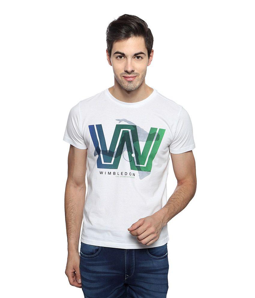 Allen Solly White Graphic Print Slim Fit Crew Neck Wimbledon T-shirt