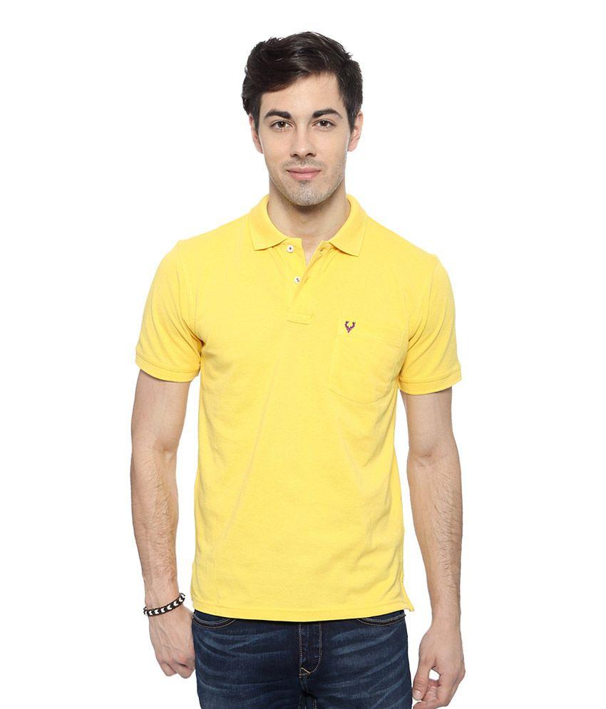 Allen Solly Yellow Solid Regular Fit T-shirt