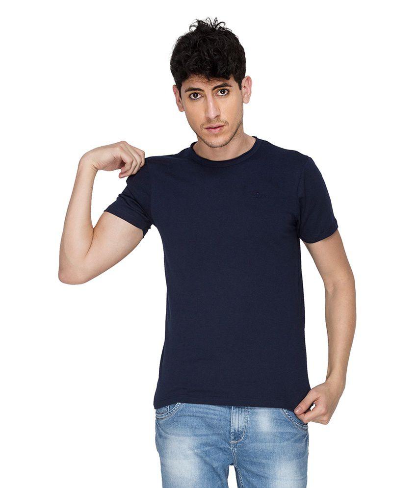Blumerq Blue Printed Cotton Round Neck Half Sleeves T-Shirt