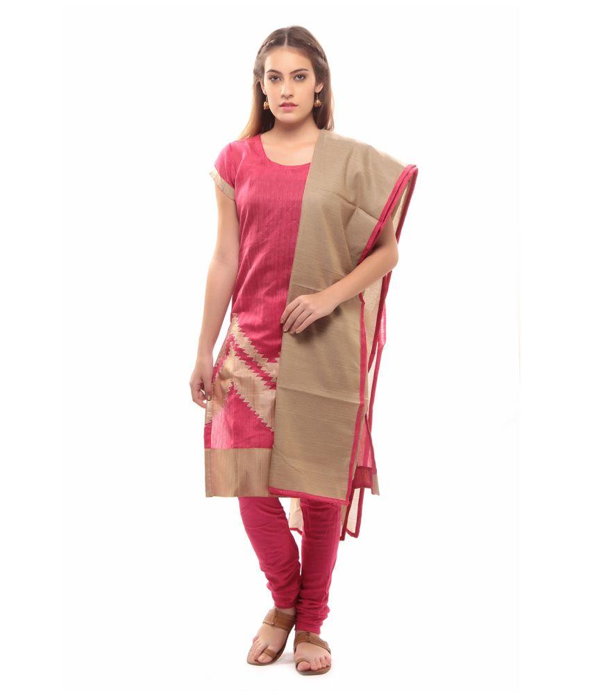 La'Ethnic Pink Suit Dress Material