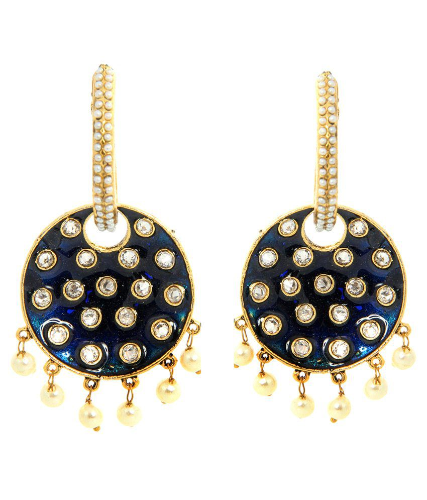 Tradisyon Bollywood Celebrity Inspired  Blue Chandelier Earrings