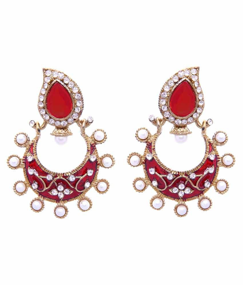 Tradisyon Bollywood Celebrity Inspired Sparkle Red Chandelier Earrings By Kaizer