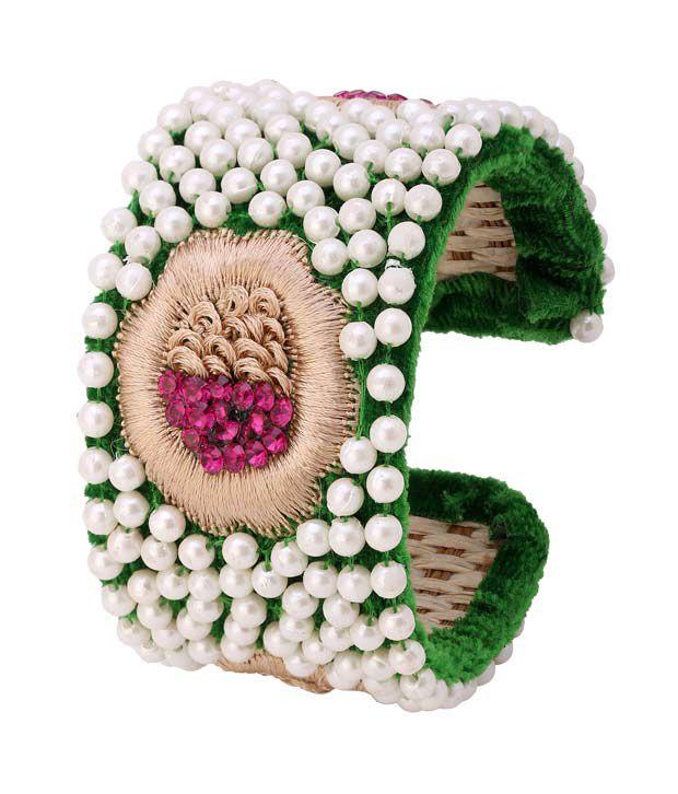 Sanjog Celebrity Style Green Velvet Pearl Adjustable Bangle Rakhi Gift
